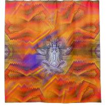 Meditating Owl Floating Rest Balance Art Shower Curtain