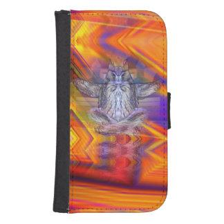 Meditating Owl Floating Rest Balance Art Wallet Phone Case For Samsung Galaxy S4