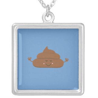Meditating poo square pendant necklace