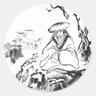 Meditating Samurai Art Classic Round Sticker