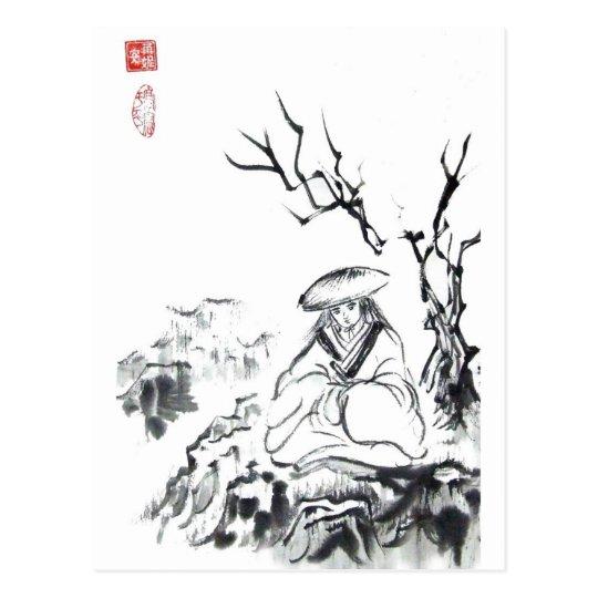 Meditating Samurai Art Postcard