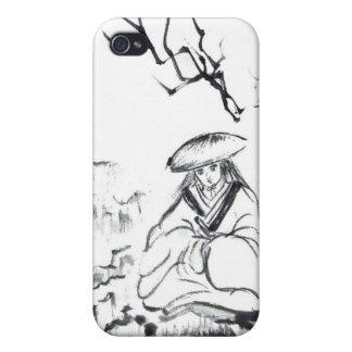 Meditating Samurai Brush Art iPhone Case iPhone 4/4S Cases