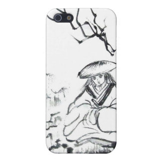 Meditating Samurai Brush Art iPhone Case