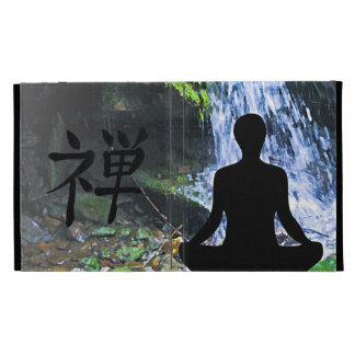 Meditating Silhouette by Waterfall iPad Folio Cases