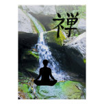 Meditating Silhouette by Waterfall Posters