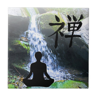 Meditating Silhouette by Waterfall Ceramic Tile
