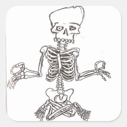 meditating skeleton square sticker