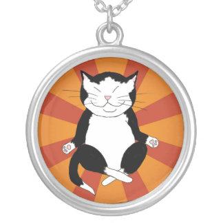 Meditating Tuxedo Kitty Necklace