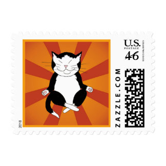 Meditating Tuxedo Kitty Postage Stamp