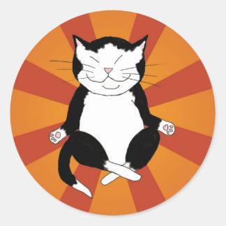 Meditating Tuxedo Kitty Stickers