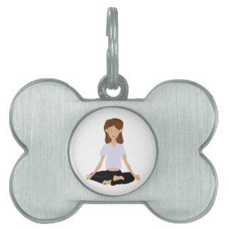 Meditating Woman Pet Tag