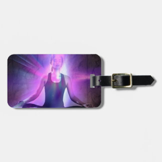 meditating yogi lady in indigo colors luggage tag