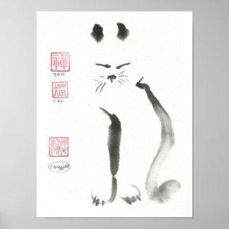 Meditating Zen Cat Poster