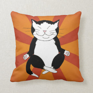 Meditating Zen Tuxedo Cat Throw Pillow