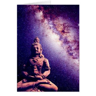 Meditation Buddha Galaxy Space Peace Love Art Card