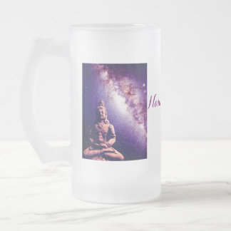 Meditation Buddha Galaxy Space Peace Love Art Frosted Glass Beer Mug