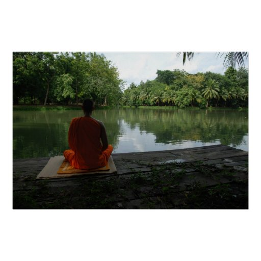 meditation by the lake poster