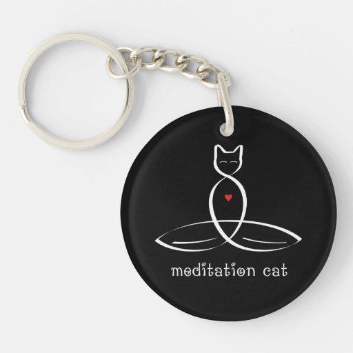 Meditation Cat - Fancy style text. Single-Sided Round Acrylic Keychain