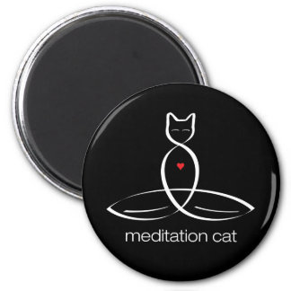 Meditation Cat - Regular style text. 2 Inch Round Magnet