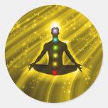 Meditation Chakras Classic Round Sticker