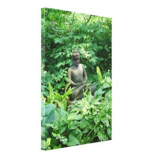 Meditation garden Gloss Stretched Canvas Print