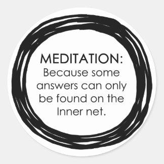 Meditation Inner Net Classic Round Sticker