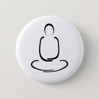 Meditation Man Black Pinback Button
