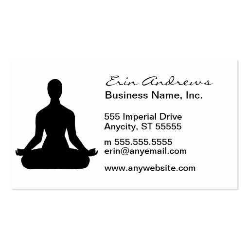 Meditation Pose Silhouette business cards