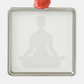 Meditation Pose Silhouette Transparent Metal Ornament