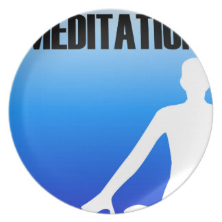 Meditation silhouette of a person melamine plate