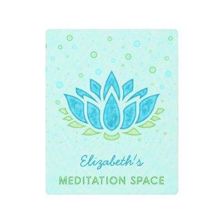 Meditation Space Blue Lotus Flower Zen | Name Metal Photo Print