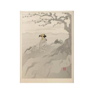 Meditation under the Dragon Pine Wood Poster