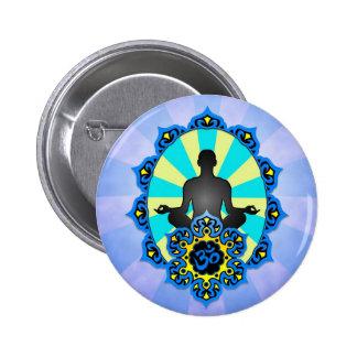 Meditation Yoga Aum, blue and yellow Pinback Button