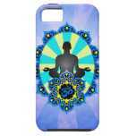 Meditation Yoga Aum, blue and yellow iPhone 5 Cases