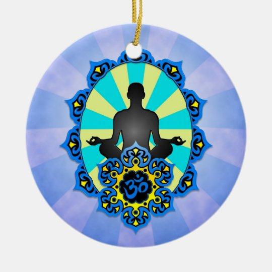 Meditation Yoga Aum, blue and yellow Ceramic Ornament