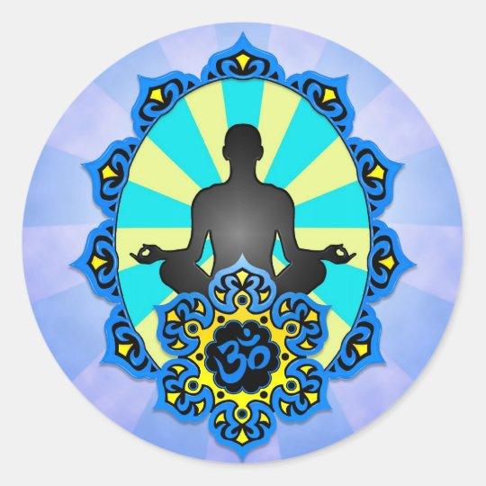 Meditation Yoga Aum, blue and yellow Classic Round Sticker