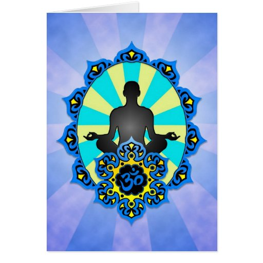 Meditation Yoga Aum, blue and yellow Greeting Card