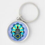 Meditation Yoga Aum, blue and yellow Silver-Colored Round Keychain