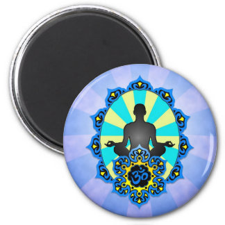 Meditation Yoga Aum, blue and yellow Fridge Magnet