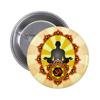 Meditation Yoga Aum, orange and yellow Buttons