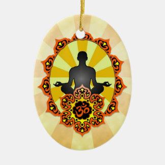 Meditation Yoga Aum, orange and yellow Ceramic Ornament