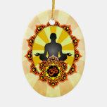 Meditation Yoga Aum, orange and yellow Christmas Tree Ornament