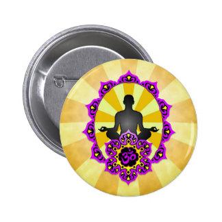 Meditation Yoga Aum, purple and yellow Pinback Button