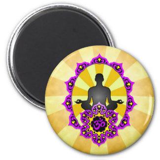 Meditation Yoga Aum, purple and yellow Magnet