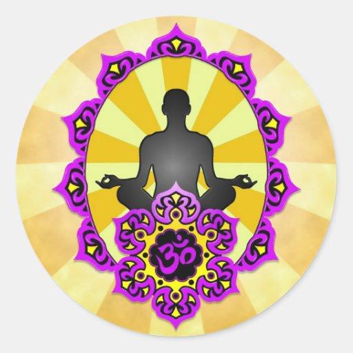 Meditation Yoga Aum, purple and yellow Round Sticker