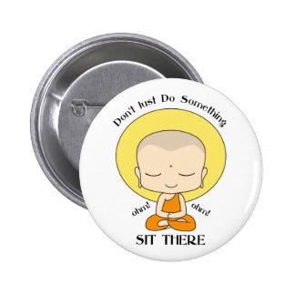 Meditation Yoga Buddhist Monk Button