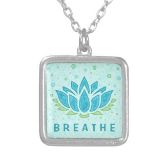 Meditation Yoga Lotus Flower Zen | Text Template Silver Plated Necklace