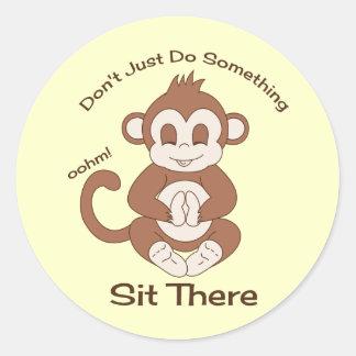 Meditation Yoga Monkey Classic Round Sticker