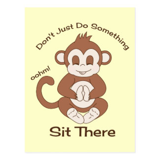 Meditation Yoga Monkey Postcard
