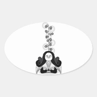 Meditation Yogi Oval Sticker